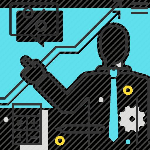 board, male, man, presentation icon