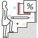 climb up, female, flag, stairs, target, woman icon