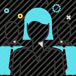 female, leader, office, team, woman, work icon