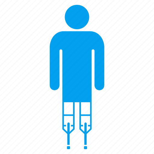 boy, crutches, guy, human, male person, man, patient icon