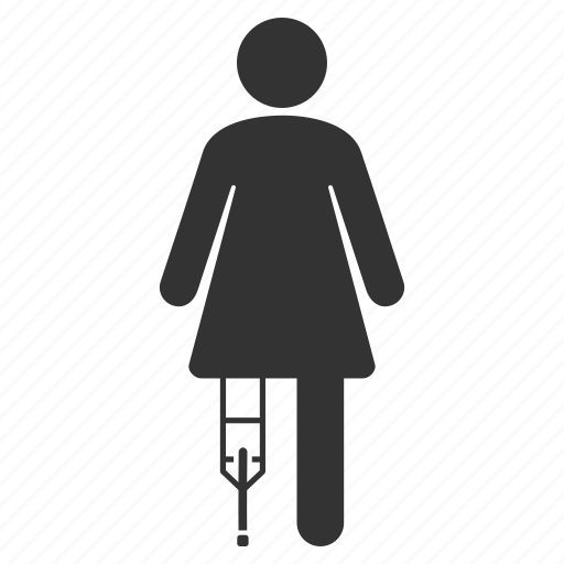 female patient, healthcare, hospital client, injured girl, invalid woman, medical treatment, sick lady icon