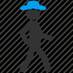 adventure, gentleman, go away, hiking, journey, walk, walking icon