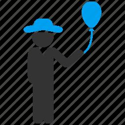 balloon, celebration, gentleman, happy boy, holiday, male figure, man icon
