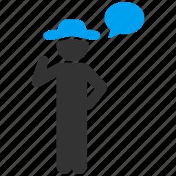 comment, communication, gentleman, message, speak, speech, voice icon