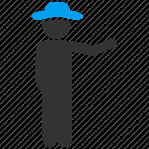 client, customer, gentleman, male figure, man, show, showman icon