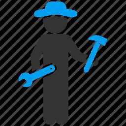 gentleman, mechanic, repair, repairman, serviceman, work, worker icon
