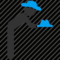 concierge, gentleman, give hat, servant, serve, service, waiter icon