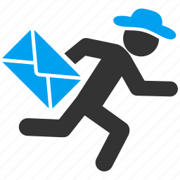 courier, gentleman, mail delivery, male figure, postman, runner, service icon