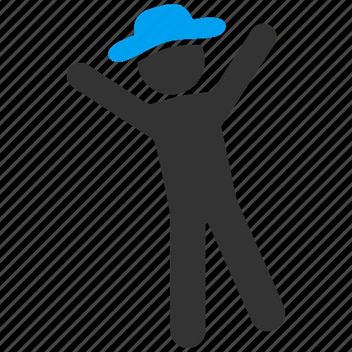 fun, gentleman, happiness, happy, joy, male figure, satisfaction icon