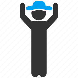 agent, gentleman, hands up, male figure, person, stand, success icon