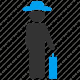 baggage, gentleman, luggage, passenger, tourist, travel, voyage icon