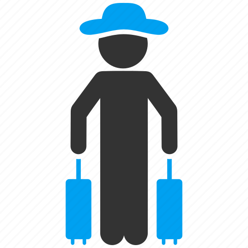 client, gentleman, luggage, passenger, person, trip, voyage icon