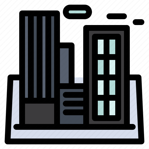 building, company, factory, industry, polution icon
