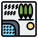 forest, rain, river, travel, tree icon