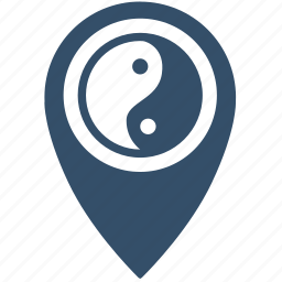 asia, geo, place, point, religion, sign icon