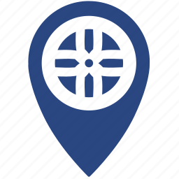car, gps, location, place, service, tuning, wheel icon