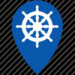 boat, geo, gps, location, sea, ship icon
