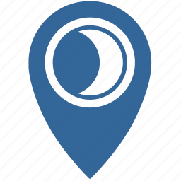 gps, location, moon, place icon