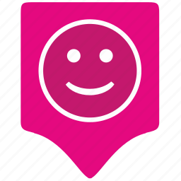 face, feeling, geo, location, party, place, smile icon