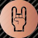 gesticulation, gesture, hand, rock icon