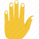 hand gesture, hand up, palm prevention, stop, warning sign icon