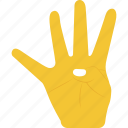 counting expression, four fingers, fourth, hand gesture, nonverbal communication icon