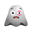 black, emoji, emoticon, eye, ghost, hurt, ill, sick, smiley, sore icon