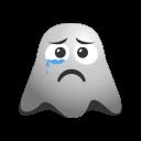 crying, emoji, emoticon, face, ghost, sad, smiley, unhappy icon