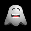 big, emoji, emoticon, ghost, grin, happy, laughing, smiley icon