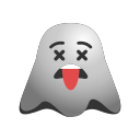 emoji, emoticon, exhausted, ghost, smiley, tired icon
