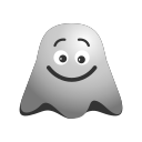 big, emoji, emoticon, ghost, grin, happy, laughing, lol, smiley icon