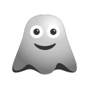 blushing, emoji, emoticon, face, ghost, happy, laughing, smiley icon