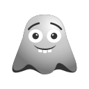 big, emoji, emoticon, ghost, grin, laughing, nerd, smiley icon