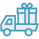 birthday gift, celebration, christmas, gift, gift delivery, present, truck icon