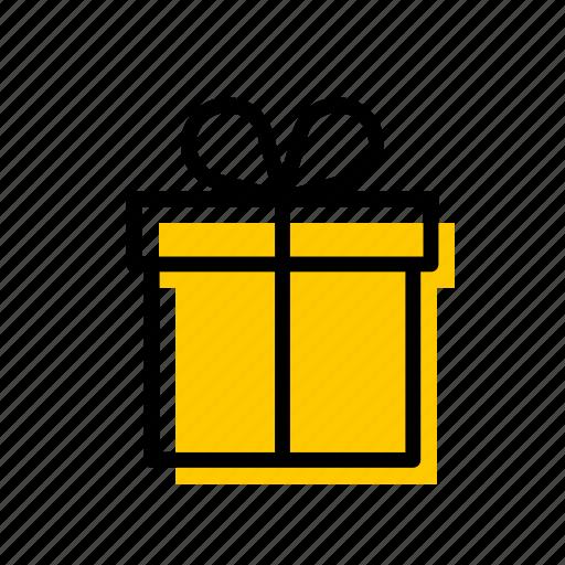 birthday, box, christmas, gift, present, surprise, yellow icon