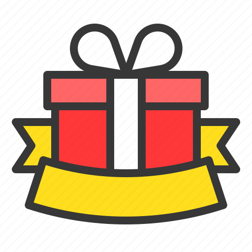 Box, christmas, gift, package, present, ribbon, badge icon - Download on Iconfinder