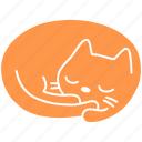 cat, cute, feline, ginger, meow, pet, sleep icon