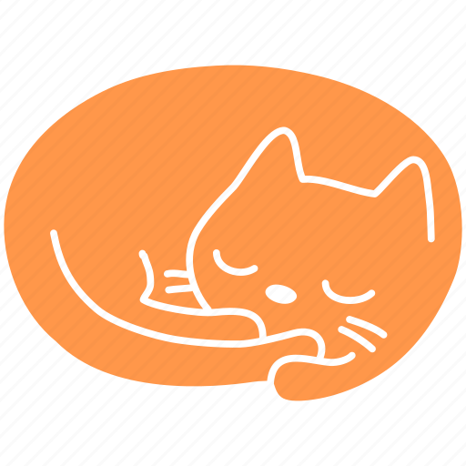 cat, cute, feline, ginger, meow, pet, sleep icon