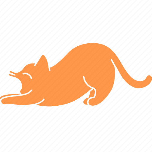 cat, feline, ginger, pet, stretch, tired, yawn icon