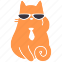 agent, cat, feline, ginger, pet, spy, sunglasses icon
