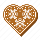 gingerbread, christmas, sweets, cookie, heart, snowflake, biscuit