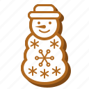 winter, biscuit, christmas, cookie, snowman, gingerbread, snow