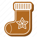 biscuit, christmas, cookie, gingerbread, retro, sock icon