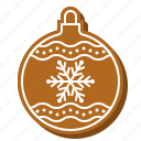 bauble, biscuit, christmas, cookie, decoration, snowflake