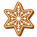 biscuit, cookie, gingerbread, snowflake, star, xmas icon