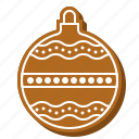 ball, bauble, biscuit, cookie, gingerbread, xmas icon