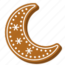 biscuit, cookie, gingerbread, moon, winter, xmas icon