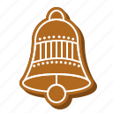 bell, biscuit, cookie, gingerbread, ornament, xmas icon