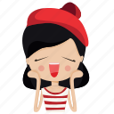 cartoon, character, girl, happy, person, woman icon