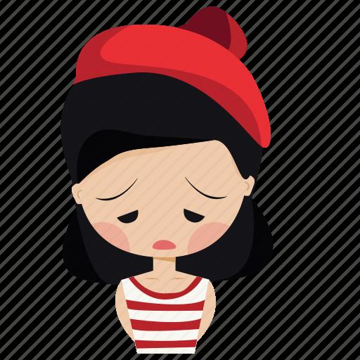 character, emotions, girl, sad, woman icon